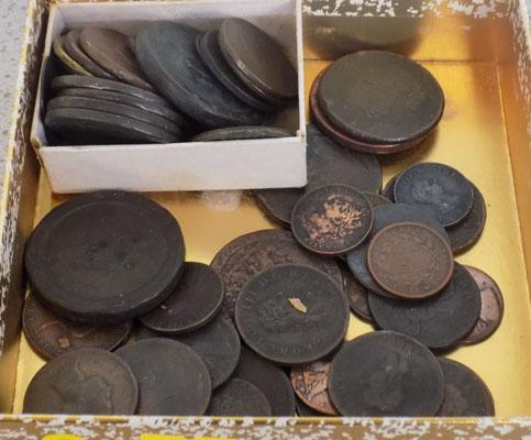 Box of early copper coins