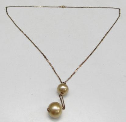 9ct Rose gold fancy chain with faux Pearl pendant