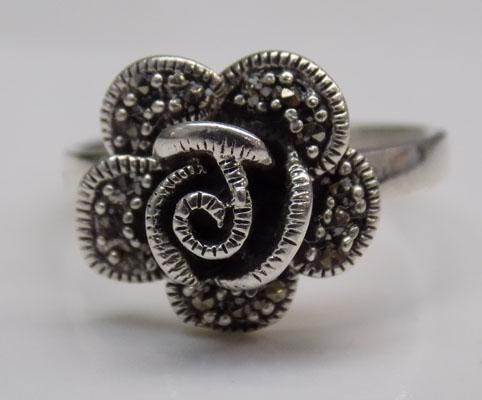 925 Silver large flower ring