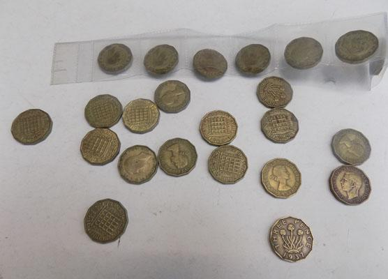 23x Different three pence coins inc 1946