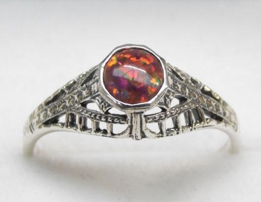 925 Silver & Black Opal ring size Q