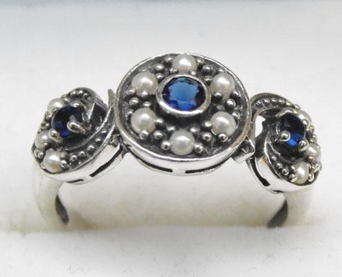 925 Silver Sapphire & seed Pearl vintage style ring size L