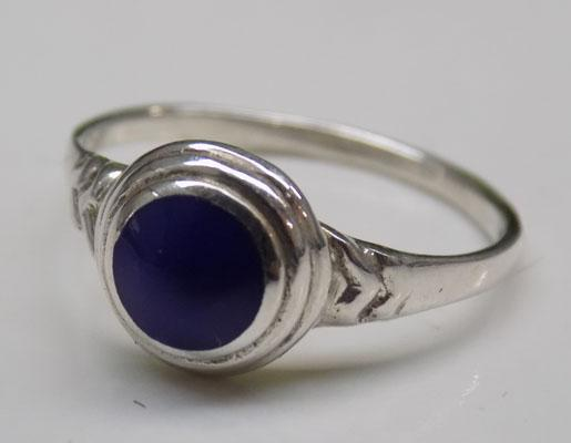 925 Silver large blue stone ring