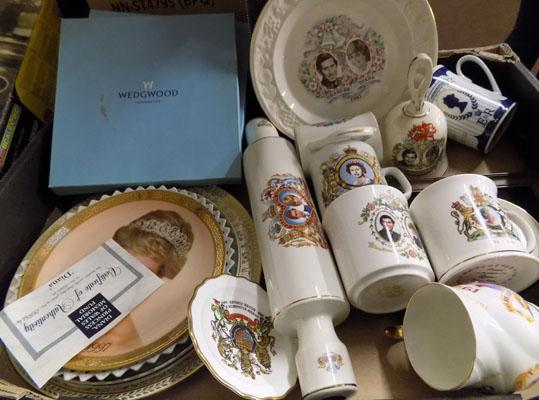 Box of quality commemorative ware-Wedgewood-R.Grafton-Ringtons-Spode