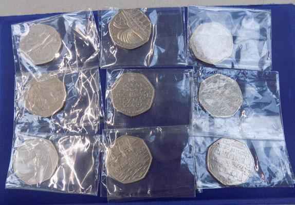 9 collectable 50p coins