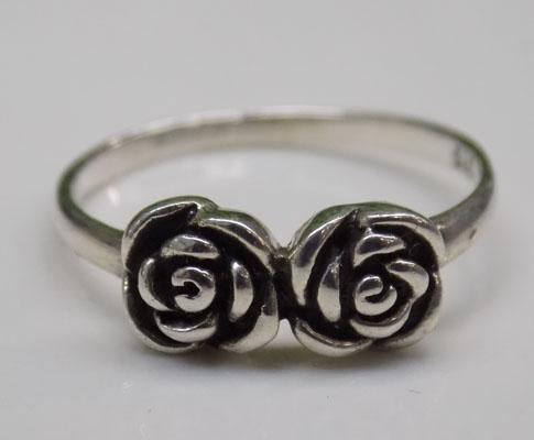 925 Silver twin Rose ring