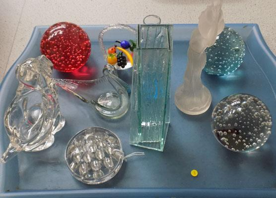 Selection of glass ware and paper weights