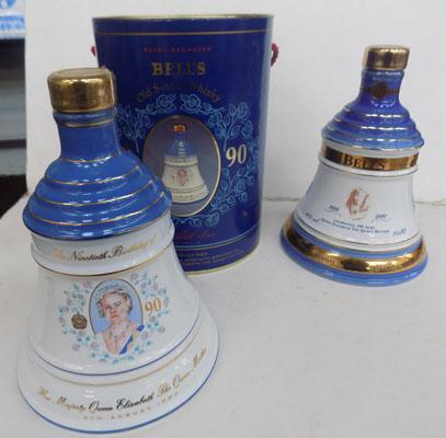1990 wade bells whiskey decanter Queen Mum's 90th and 2000 wade bells whiskey decanter Queen Mum's 100th
