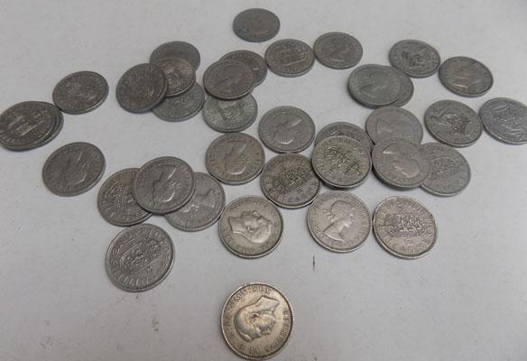 36 Different one shilling coins-good grades