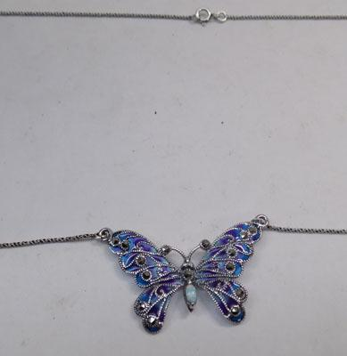 Silver and marcasite butterfly necklace