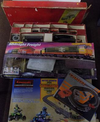 Large box of vintage toys incl. 1950's Trix railing, Hornby, Scalextric, Sinod, A.Man