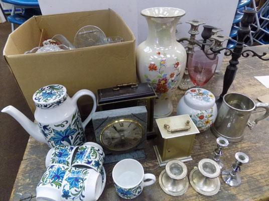 Large box of ceramics & glass, incl. Sadler 'Mid-Winter' coffee set & plateware