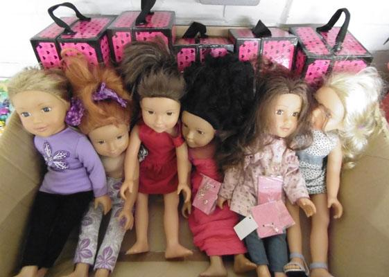 Dolls with clothes and wardrobe