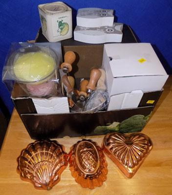 Mixed box of household equipment, including jelly moulds