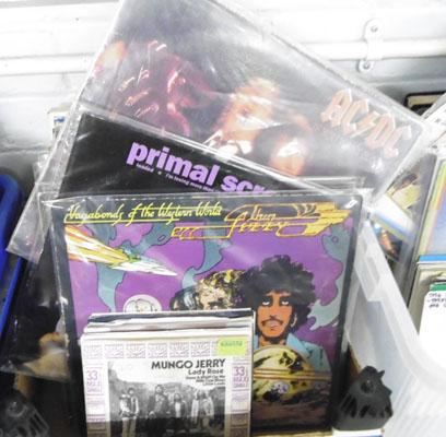 Collection of records, incl. Thin Lizzy, New Order & AC DC
