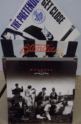 Box of LP's inc Madness, Pretenders, Jackson 5, Blondie in record case