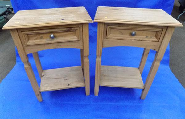 2 matching pine bedside tables