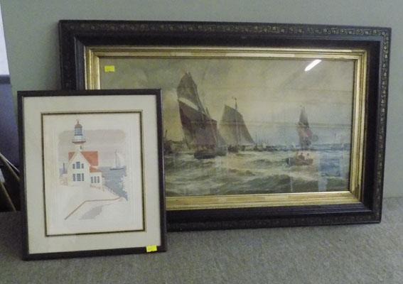 Picture of lighthouse and picture of sailing ship