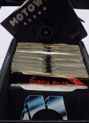 Box of approx 60 Motown singles in case