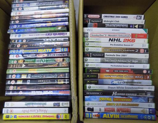 Box of DVDs & box of console games