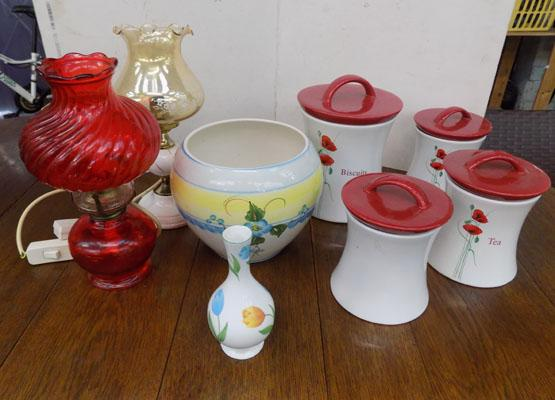 2 lamps, tea set & others