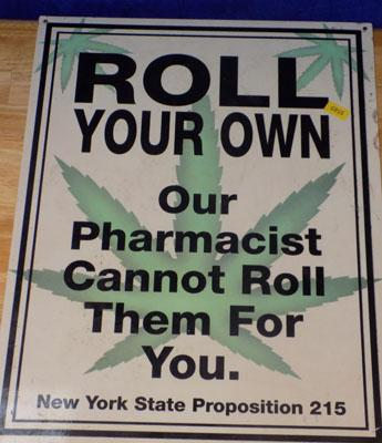 "Roll Your Own, chemist sign, vintage, 12"" x 16"""