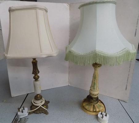 Two unusual lamps with shades