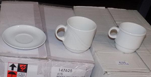 4 boxes of cups and 4 boxes of saucers