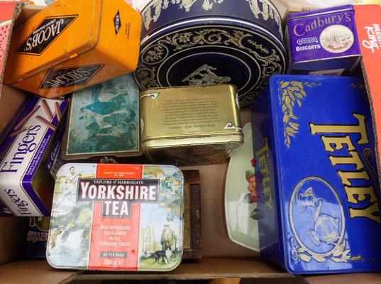 Box of vintage tins & others, incl. Tetley & Yorkshire Tea