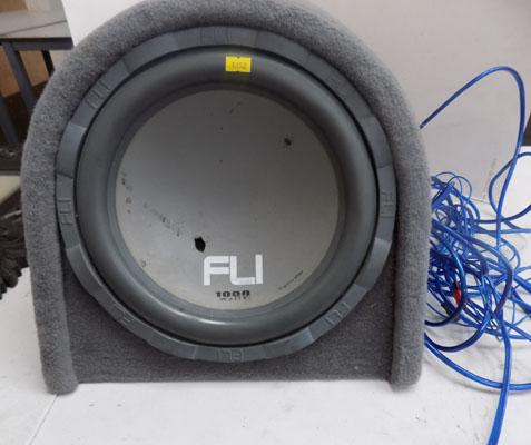 FLI active subwoofer 1000w with wiring kit, damage to cone w/o