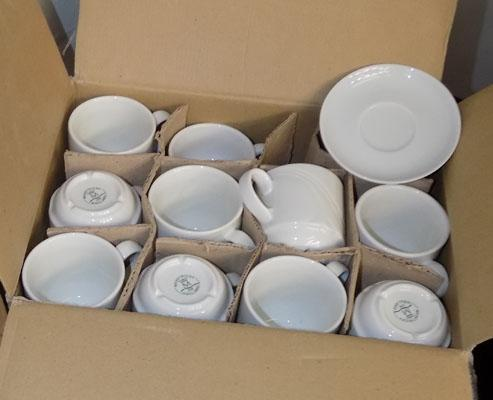 3 boxes of cups and 3 boxes of saucers