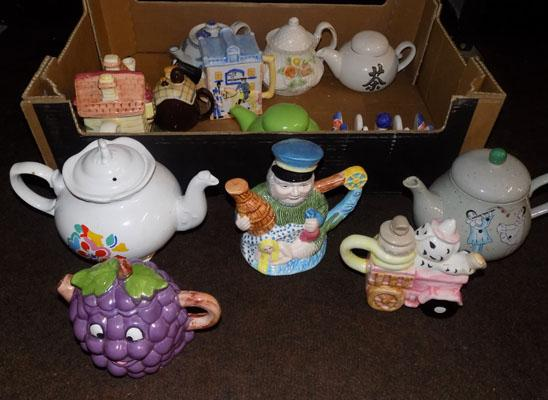 Large box of mixed pottery-mostly teapots