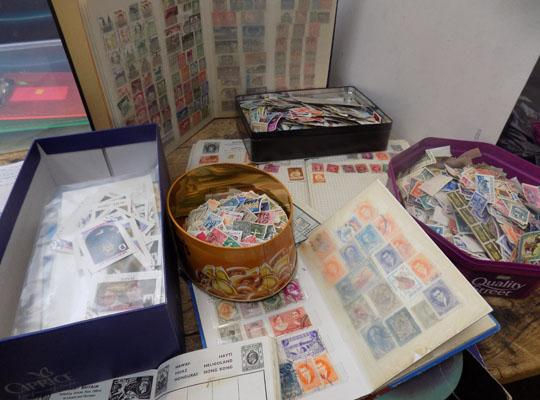 Box of stamps - first day covers and albums