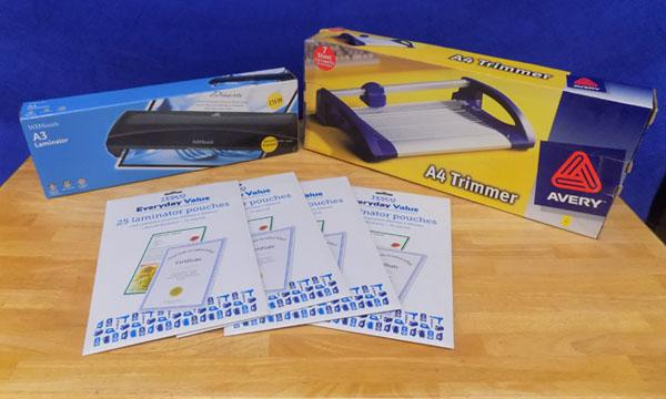 Selection of stationery equipment, incl. laminator + trimmer