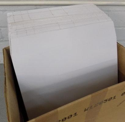Box of approx. 80 cardboard LP mailers/envelopes