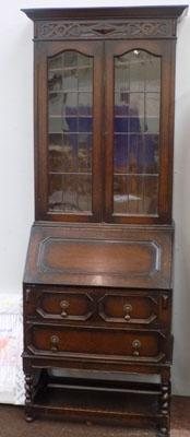 Glass fronted vintage oak writing cabinet