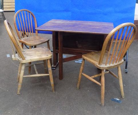 Drop leaf table & three chairs