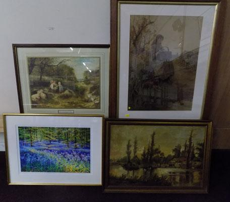 Quality of framed pictured incl. oil, watercolour and modern art