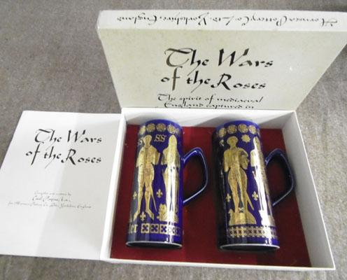'Wars of the Roses', 2 mugs by Hornsea Pottery in original box + booklet