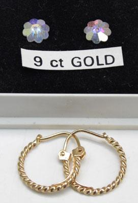 2x Pairs of 9ct Gold ear rings-1 Crystal & 1 creole sleepers