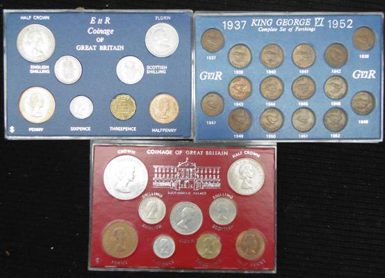 Complete set of farthings - 1937-52, 1965 set including Churchill crown, 1966 set