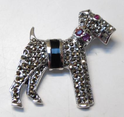 Silver Ruby & Marcasite dog brooch