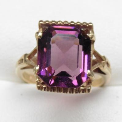 9ct gold amethyst dress ring, size L 1/2