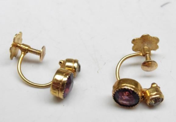 Vintage pair of 9ct gold amethyst screw back earrings