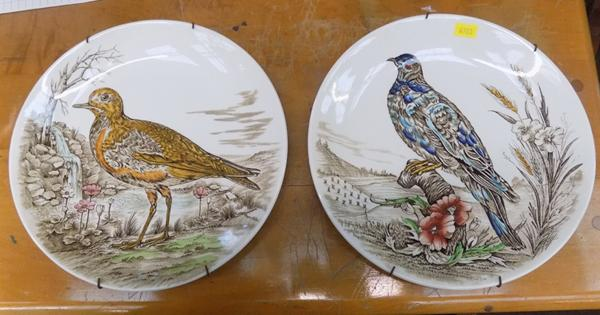 Two decorative plates - 'Birds' - pigeon + golden plover