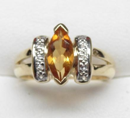 9ct gold citrine diamond ring, size N 1/2