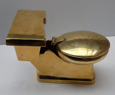 Novelty brass toilet