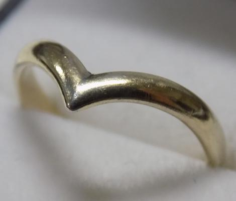 Gold on sterling silver wishbone ring-Birmingham circa 1989 size approx O