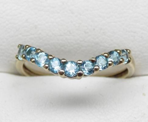 9ct gold blue topaz wishbone ring, size P 1/2