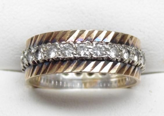 9ct yellow/white gold full eternity ring, size Q1/2
